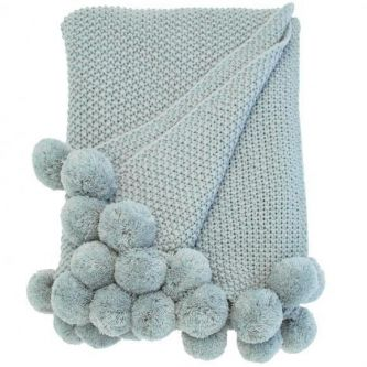Cosy Knit Pom Pom Throw Opal (130x170)
