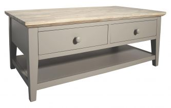 Florence Dove Grey Coffee Table with 2 Drawers and Storage Shelf
