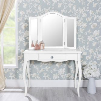 Romance True White Dressing Table with Crystal Handles