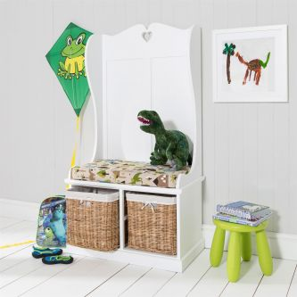 Tetbury Monk Seat Bench with Baskets and Dinosaur Cushion