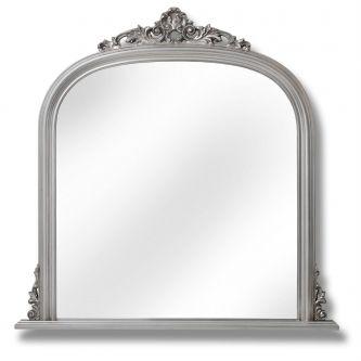 Antique Silver over Mantel Mirror 103 x104cm