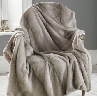 Faux Angora Stripe Throw