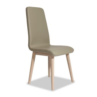 Edvard Olsen Highback Chair (Brown Faux Leather) - Light Oak