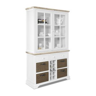 Florence Display Cabinet with Wine Rack - White
