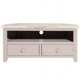 Florence Corner TV Unit with 2 Drawers, TV stand - Truffle
