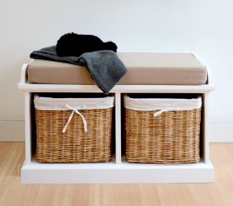 Tetbury white cushion storage bench