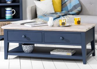 Florence Coffee Table with 2 Drawers and Shelf - Navy Blue