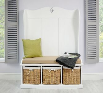 Tetbury Monks Bench with 3 Natural Baskets &  Cushion