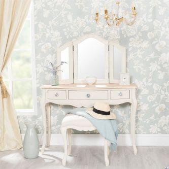 Juliette Champagne Dressing Table Set with Crystal Handles