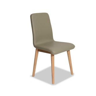 Edvard Olsen Dining Chair (Brown Faux Leather) - Golden Oak
