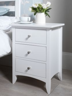 Edward Hopper White 3 drawer Bedside table