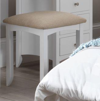 Edward Hopper white upholstered stool