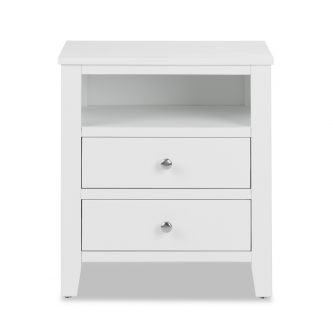 Brooklyn white bedside chest with 2 drawers