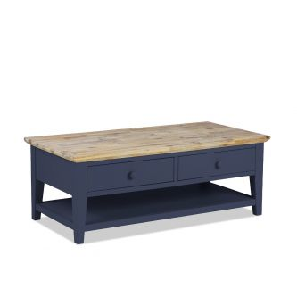 Florence Navy Blue Coffee Table with 2 Drawers and Storage Shelf