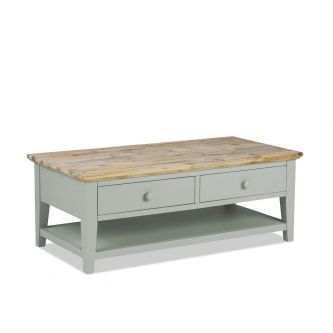 Florence Sage Green Coffee Table with 2 Drawers and Storage Shelf