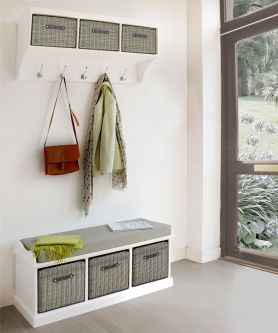 Tetbury White Coat Rack & Bench with 3 Grey Faux Rattan Baskets