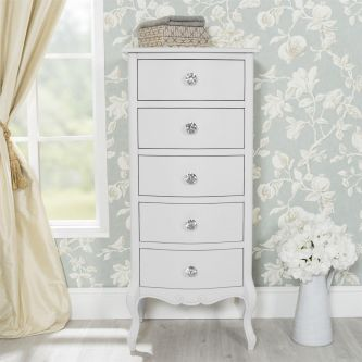Juliette White Tallboy with Crystal Handles