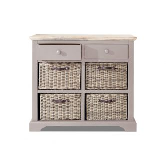 Florence Sideboard with 2 Drawers and 4 Baskets - Truffle