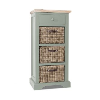 Florence Tallboy with Drawer and 3 Storage Baskets - Sage Green