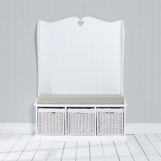 Tetbury Monks Bench with 3 White Storage Baskets & Sage cushion