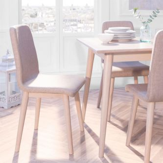 Edvard Olsen Dining Chair (Brown Fabric) - Light Oak
