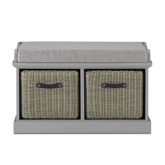 Tetbury Grey Bench with 2 Grey Faux Rattan Baskets and Grey Cushion