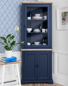 Florence Corner Display Cabinet  Dresser -Navy Blue