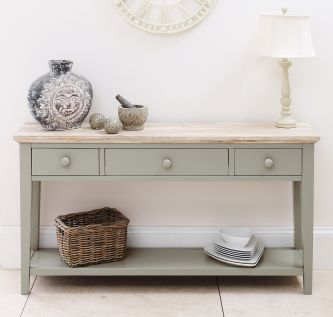 florence sage green console table