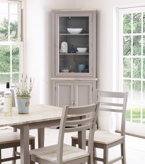 Florence grey corner display cabinet