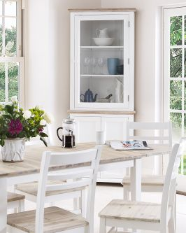 Florence white corner display cabinet