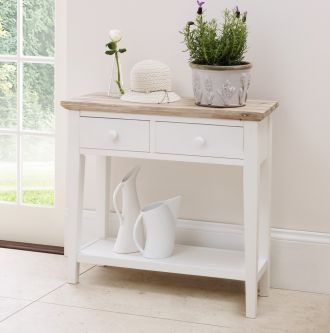 florence white console table with 2 drawers