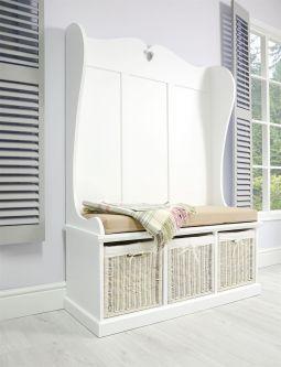 Tetbury Monks Bench with 3 White Storage Baskets & Cushion