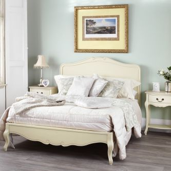 Juliette Shabby Chic Champagne 5ft King Bed with Wooden Headboard