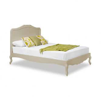 Juliette Shabby Chic Champagne Double Bed with Wooden Headboard