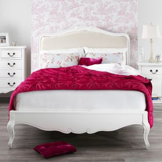 Juliette shabby chic white upholstered super king size bed