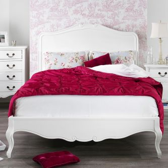 Juliette shabby chic white double bed
