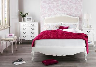 Juliette white upholstered king size bed