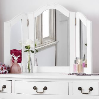 Juliette Antique White 3 Way Mirror