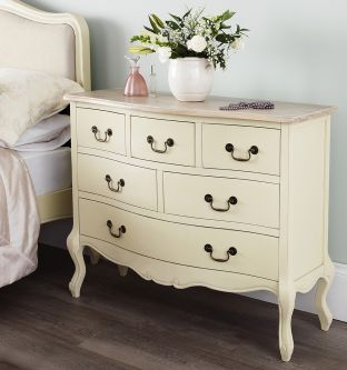 juliette shabby chic champagne 6 drawer chest