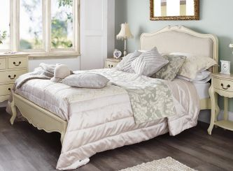 Juliette shabby chic champagne upholstered  king size bed