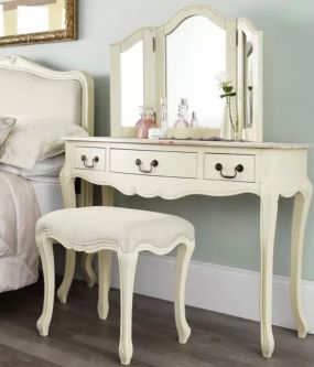Juliette Shabby Chic Champagne Dressing Table Set with Brass Handles