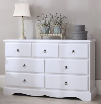 Romance True White 7 drawer dresser
