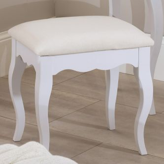 romance true white upholstered stool