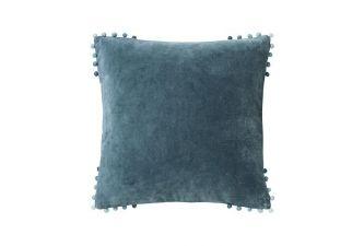 Walton & Co velvet slate blue cushion