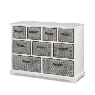 Tetbury large white unit with 9 grey storage baskets