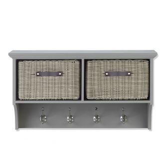Tetbury Grey Hanging Shelf with 2 Grey Faux Rattan Baskets