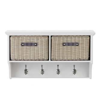 Tetbury White Hanging Shelf with 2 Brown Faux Rattan Baskets