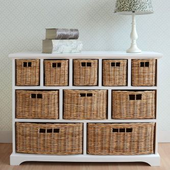 Large Tetbury White Wooden Storage Unit With 10 Wicker Baskets