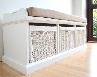 Tetbury large white bench with cushion image