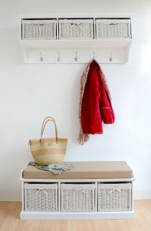 Tetbury large coat rack and bench set